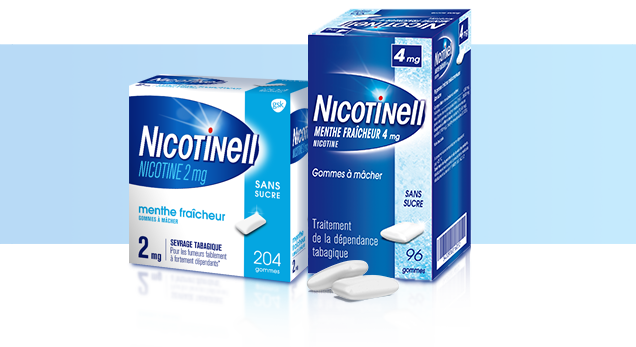 Comprimé Nicotinell® Menthe 1mg, Gommes à mâcher  Nicotinell® 2mg Menthe