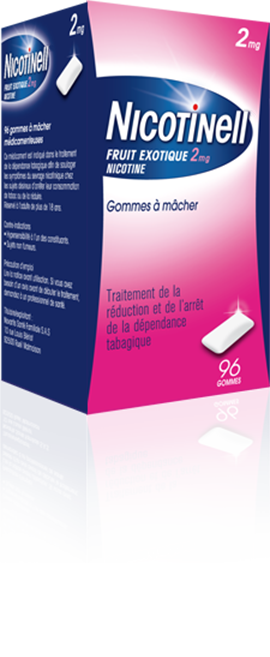 Gommes à mâcher  Nicotinell Fruit Exotique 2mg